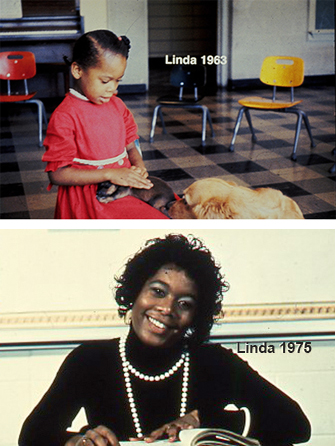 Top photo of Early Training Project participant in preschool. Bottom photo of same participant in high school.