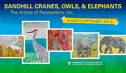 "<p>(August - September 2013) </p><p>This exhibit features works of art produced by the artists of Pacesetters, Inc. An interest in protecting these species in Tennessee—or, for elephants, in the world—led to the exhibit focus. For the owls, an inspiration has been the story ""Why Mosquitoes Buzz in People's Ears."" </p> <p> Pacesetters, Inc., is a nonprofit agency with five centers providing services to persons with disabilities. Pacesetters' ""Painting the Tale"" art program is led by visual artists Merritt Ireland, Ramie Nunley and storyteller Marcia Donovan as artists-in-residence. ""Painting the Tale"" began in 2000 with a grant from the Tennessee Arts Commission. Since 2007, the program has been completely supported by Pacesetters, Inc. </p>"
