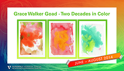 "<p>(June 11 - August 2014)</p><p>Grace Walker Goad was diagnosed with moderately severe autism with intellectual disAbilities and severe speech/language disorder at just under age three, in 1997, and has been painting since she was four. Because autism subtly affects the muscle tone of portions of her grasp, her work is largely abstract. Yet, her advanced use of color and composition has been lauded in gallery exhibits in Tennessee and other states. See <a href=""http://www.GraceGoad.com"">www.GraceGoad.com</a> and on Facebook <a href=""https://www.facebook.com/pages/Grace-Goad-Autism-Art/323835837658358"">Grace Goad 
