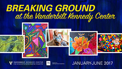 <p>(January - June at the Vanderbilt Kennedy Center)</p> <p>The exhibit <em>Breaking Ground at the Vanderbilt Kennedy Center</em> showcases original work, reproductions of art, and poetry by and about Tennesseans with disabilities that are featured in the annual arts issue of Breaking Ground, the magazine of the Tennessee Council on Developmental Disabilities.</p>