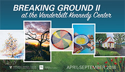 <p>(April - September at the Vanderbilt Kennedy Center</p><p>The exhibit <em>Breaking Ground II at the Vanderbilt Kennedy Center </em> showcases original work, reproductions of art, and poetry by and about Tennesseans with disabilities that are featured in the annual arts issue of Breaking Ground, the magazine of the Tennessee Council on Developmental Disabilities.</p>