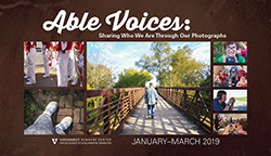 "<p>(January - March at the Vanderbilt Kennedy Center)</p> <p>This free exhibit features photographs by students with disabilities from Centennial and Franklin High Schools (Williamson County, Tennessee). The images represent the young adults' strengths and/or depict the people, places, and things that are most important to them and that define them as individuals. This experience amplifies the voices of the participants and illustrates the power of self-expression. </p> <p> The <em>Able Voices</em> program was developed and is led by teaching artist, <a href=""http://www.jenvogus.com"">Jen Vogus</a>. This project was made possible by support from The Arc Williamson County, Middle Tennessee Electric Membership Corporation, and the Arts Council of Williamson County. Lain York, Preparator</p> <p> To learn more about <em>Able Voices</em>, visit <a href=""https://www.jenvogus.com/able-voices"">www.jenvogus.com/able-voices</a>. </p> <p>Prints available for sale. Contact <a href=""mailto:jen@jenvogus.com"">jen@jenvogus.com</a>. All profits go to the student photographer. Watch <a href=""https://www.youtube.com/watch?v=WK49Subb6hg&frags=pl%2Cwn"">Able Voices: Centennial High School</a> on YouTube. Watch <a href=""https://www.youtube.com/watch?v=IPHqE3d7aTg&frags=pl%2Cwn"">Able Voices: Franklin High School</a> on YouTube. </p>"