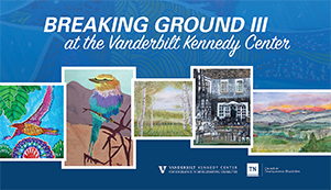 <p>(July - September at the Vanderbilt Kennedy Center)</p> <p>This free exhibit features original work and reproductions of art by and about Tennesseans with disabilities that are featured in the annual arts issue of <em>Breaking Ground</em> magazine of the Tennessee Council on Developmental Disabilities. </p>