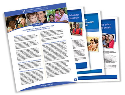 "picture of autism brochures and fliers"" width="