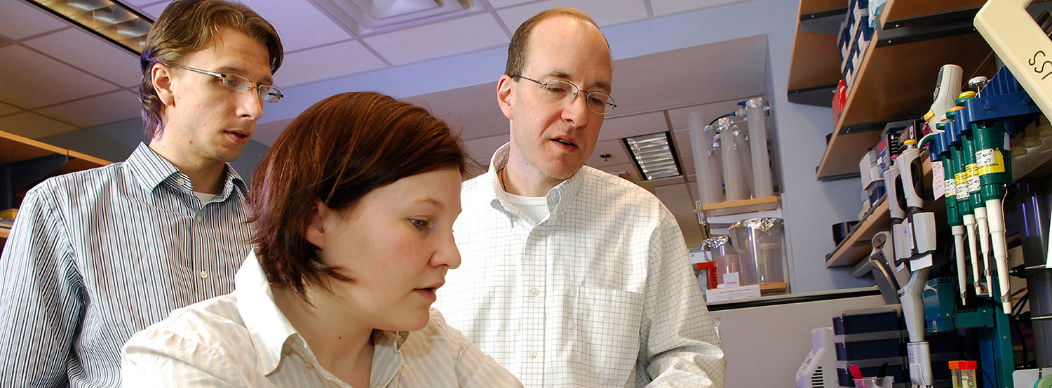 <p>Three people conducting research in a lab</p>